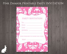 Free Party Invitation Pink Damask Invitations Printable Birthday