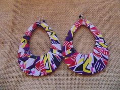 African Print Earrings-Purple Variation 3 – Lillon Boutique