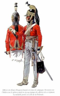 Officer, British King's Dragoons Guards, c. 1815. The Guards were part of the King's Household Cavalry Brigade, which was present in all its parts, in the Waterloo campaign, June, 1815.