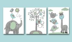 Baby Boy Nursery Art Print Nursery Wall Art Kids Wall Decor Baby Room Decor Kids Art Elephant Nursery Print set of 3 8x10 Tree Owl Blue Gray