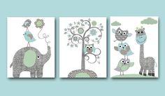 Owl decor Giraffe Nursery Baby Boy Nursery Art Nursery wall art kids room decor Kids Art set of 3 8 x 10 elephant nursery tree blue gray on Etsy, $42.00