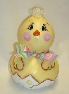Easter Baby Chicken  Gourd  Hand Painted by FromGramsHouse on Etsy, $21.00