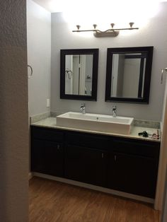 How To Paint Vinyl Bathroom Cabinets cabinets painted and vinyl flooring installed. before countertop