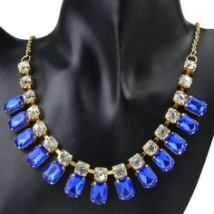 Gold Plate Sapphire Blue Resin And Crystal Bib Necklace. Starting at $10 on Tophatter.com!