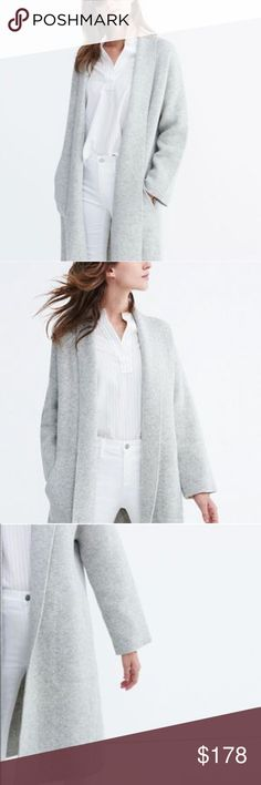 NWT Madewell Rivington sweater coat in light gray Light gray color from last year. Oversized. New with tag! Never worn. Perfect condition. No pilling!   Luxuriously oversized, this slouchy, substantial cardigan is made of soft merino wool. Wear it as a coat or pop it on indoors for no-blankets-required couch snuggles, this sweater is a design-team favorite and a best seller.  Oversized fit. Merino wool. Dry clean. Madewell Jackets & Coats