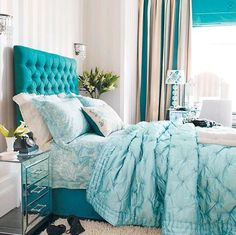 Image detail for -Turquoise Bed Linens and Padded Headboard ( Credit )