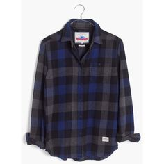 MADEWELL Penfield® Valleyview Checked Flannel Shirt (110 CAD) ❤ liked on Polyvore featuring tops, blue, blue button up shirt, flannel button up shirts, flannel button-down shirts, flannel top and blue flannel shirts
