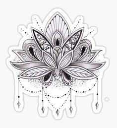 b&w lotus flower design sticker