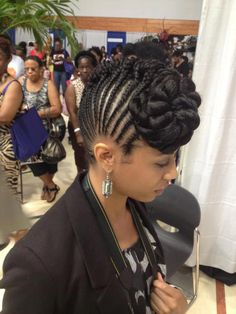Braided updo Mohawk with cornrows