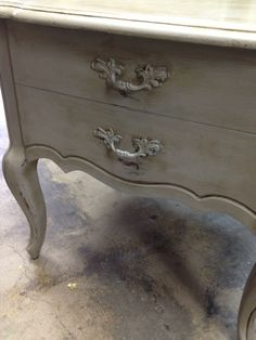Sweet pair of end tables done with  Chalk Paint® decorative paint by Annie Sloan.  in Paris Grey