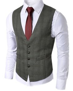 Slim Fit Check Patterned Waistcoat Only 1 Brown Vest left in stock