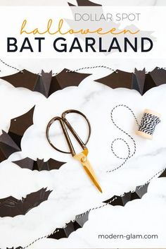 DIY Halloween garland with black bats. Check out how easy it is to make this simple halloween DIY with dollar section cutouts and bakers twine. #diy #diyhalloween #batgarland #halloweenporch Diy Halloween Garland, Halloween Door Decorations, Halloween Home Decor, Halloween Projects, Halloween Ideas, Diy Projects, Modern Halloween, Cute Halloween, Holidays Halloween