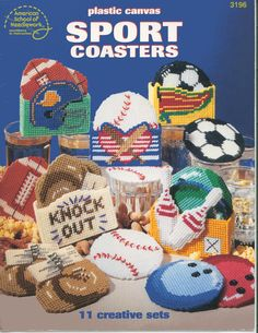 Plastic Canvas Sport Coasters from American by MastersCreations