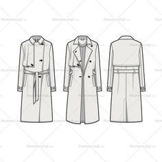 Free Fashion Flat Templates + Trim Pack - Courses & Free Tutorials on Adobe Illustrator, Tech Packs & Freelancing for Fashion Designers Fashion Design Jobs, Fashion Design Template, Flat Drawings, Flat Sketches, Dress Design Sketches, Fashion Design Sketches, Croquis Fashion, Illustrator, Trench Coat Style