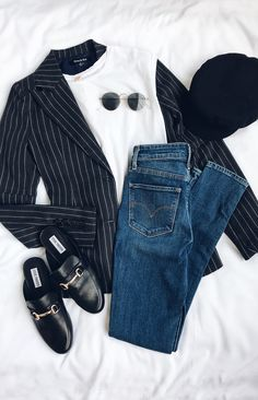 #lovelulus. Pinstriped navy jacket, white tee, and basic jeans with flat mules & sunnies.
