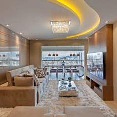 Apartamento jundiaí salas de estar modernas por designer de interiores e paisagista iara kílaris moderno Dream Home Design, House Design, Ceiling Design Living Room, Appartement Design, Pop Design, Home Theater, Home Renovation, Kitchen Design, House Plans