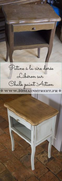 Patine à la cire dorée Libéron sur Chalk Paint Action   www.10mainstreet.fr