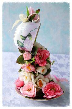 Парящая чашка с цветами. Шиповник. Мастер-класс