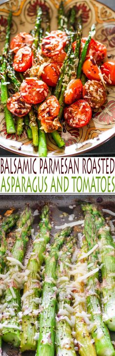 A great recipe for Balsamic Parmesan Roasted Asparagus and Tomatoes. Parmesan and crispy Roasted Asparagus and Tomatoes miraculously combine and complement the Side Dish Recipes, Veggie Recipes, Vegetarian Recipes, Dinner Recipes, Cooking Recipes, Healthy Recipes, Healthy Asparagus Recipes, Roasted Vegetable Recipes, Roasted Vegetables