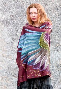 Silk Wings scarf, Crimson bohemian bird feathers shawl This unique bohemian…