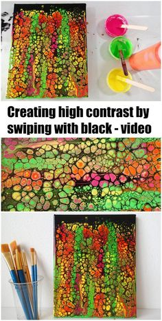 Acrylic painting, swiping with black video. How to create high contrast swipes with bright colors and black paint to swipe. Video tutorial.