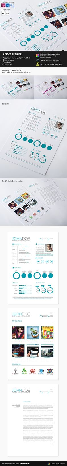 Features- 22 files included (DOC, DOCX, INDD, IDML, PSD)- CMYK, 300 DPI- Print Ready- Editable Swatches- Free Fonts- Resume + Cover Letter + Simple Portfolio- Fully Editable and Organized- Vector icons and infographic - Photo and logos from previ…