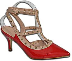 Damen Pumps Lack Nieten Stilettos Riemchen High Heels Schuhe - http://on-line-kaufen.de/elara/damen-pumps-lack-nieten-stilettos-riemchen-high