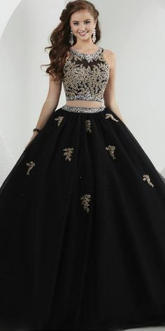 Glamorous Tulle & Satin Scoop Neckline Two-piece Ball Gown Prom Dresses With Beaded Lace Appliques 15 Dresses, Formal Dresses, Ball Gowns Prom, Beaded Lace, Lace Applique, Occasion Dresses, Appliques, Tulle, Neckline