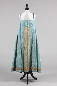 A Blue Damask Sarafan Dress, Russian, Early 19th c.