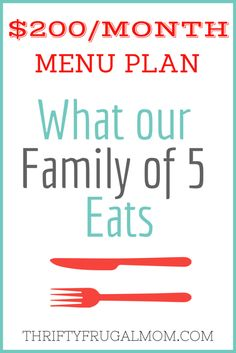 $200/Month Menu Plan for Our Family of 5 (Post #3)