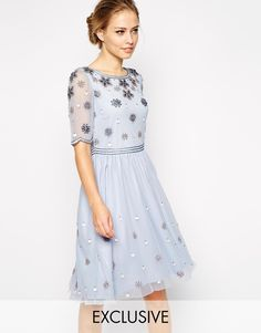 Image 1 ofFrock and Frill Embellished Top Skater Dress With Sleeve