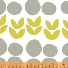 Lotta Jansdotter Bella Fabric - Leaves Fabric in Yellow Gray - 1 Yard