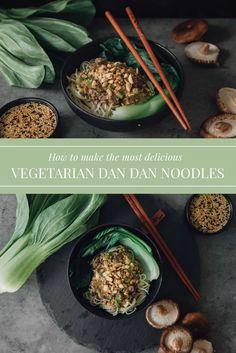 Vegetarian Dan Dan Noodles- China - Gourmet Vegetarians Vegetarian Sauces, Vegetarian Main Dishes, Vegetarian Recipes Easy, Healthy Recipes, Plant Based Recipes, Vegetable Recipes, Pasta Noodles, Vegan Friendly, Soups And Stews