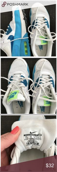 Nike Air Max White and Blue Reposh because they didnt fit me. Size 7.5 womens. Amazing condition! Nike Shoes Sneakers