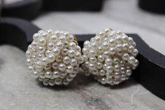 Vintage Marvella Pearl cluster earrings clip on earrings