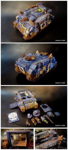Warhammer 40k Ultramarines Space Marine Command Razorback / Rhino, with modular weapon loadouts