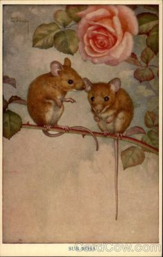 """Two Mice in Rose Bush"" by Noel Hopking"