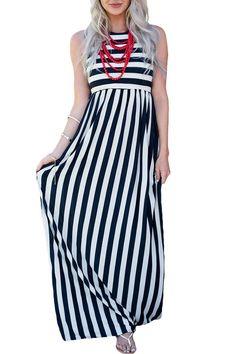 Black White Stripes Sleeveless Maxi Dress modeshe.com