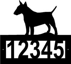 """Custom Crafted BULL TERRIER Steel Address Sign by Designs of Steel. $29.99. Custom crafted from 1/8"""" hot roll steel with a black texture powdercoated finish.. Number frame has two pre-drilled mounting holes, mounting hardware is not included.. Customized with your house number, 5 digit spaces available.. Overall sign is apprx 12"""" x 12"""". Numbers are apprx 3"""" tall.. Each sign is made to order. Please allow approximately 2-3 weeks to craft before shipping.. FREE SHIPPING in the US. ..."""