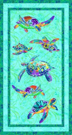 Fabriquilt Calypso Turtles Sea Turtle Panel 24 x 44 | Fabric