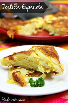 Tortilla Espanola Recipe (Spanish Omelet) by Bakerette.com (simple dish.. eggs, onions, potatoes.. can add ham or roasted red peppers, etc)