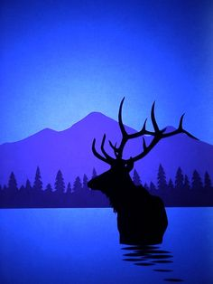 Elk Silhouette Print by Andy and Joanna Smetanka