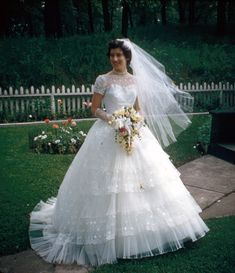Barbara on her wedding day, 1957. I would totally wear this, I love it <3
