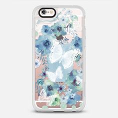 MY BLUE BUTTERFLY GARDEN - New Standard iPhone 6 phone case in Clear and Clear by @monikastrigel #phonecase #floral #floralprint #protective | @casetify