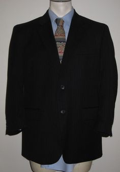 Men's Jos A Bank Dark Gray Pinstripe 2 Button Suit 44S Pant 38x27- 100% Wool #JosABank #TwoButton