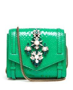 Shorouk SS 2014 embellished python satchel.