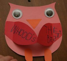 Owl kid's craft made with construction paper and large google eyes