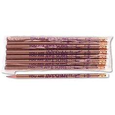 Moon Products Decorated Wood Pencil You Are Awesome HB #2 Gold Barrel Dozen