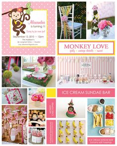 Monkeylove #first #birthday #theme- sweet, vintage, girly- ideas for sundae bar and bubble party favors!