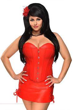 Red Leather Gothic Espartilhos Corset Corselet Dress Burlesque Steampunk Clothing  Women y Waist Training Bustiers   Corsets Alternative Measures 3d88050c2104